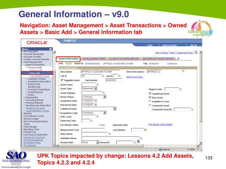 Navigation: Asset Management > Asset Transactions > Owned Assets > Basic Add > General Information tab