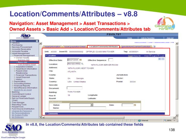 Location/Comments/Attributes –