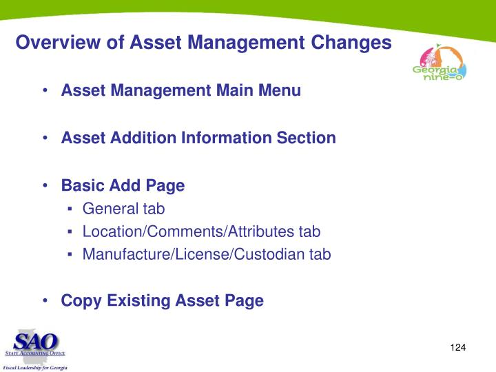 Overview of Asset Management Changes
