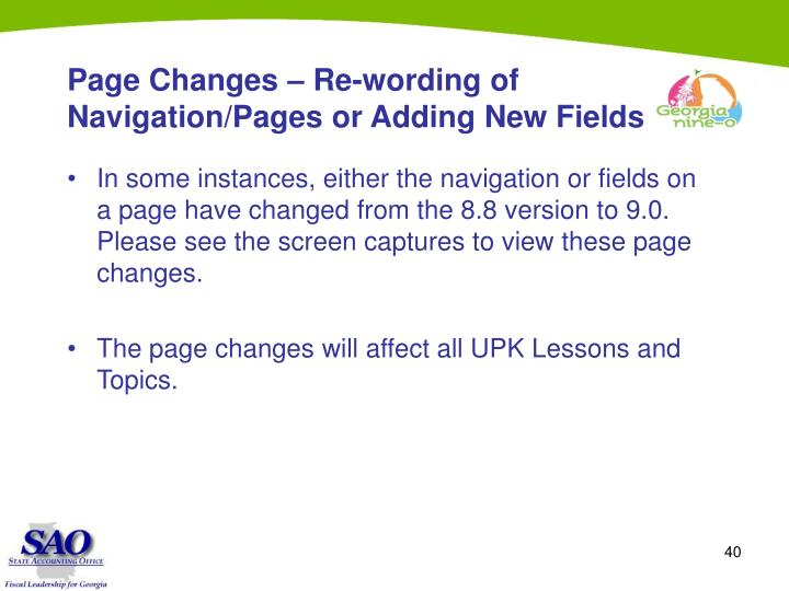 Page Changes – Re-wording of Navigation/Pages or Adding New Fields