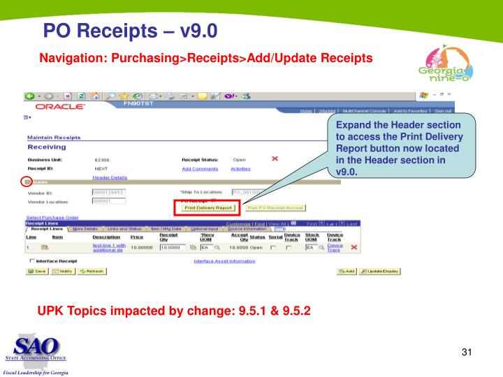 Navigation: Purchasing>Receipts>Add/Update Receipts