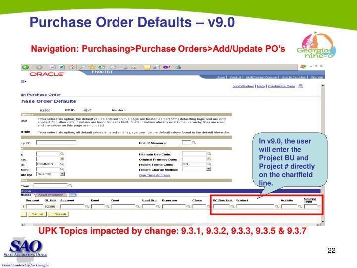 Purchase Order Defaults – v9.0