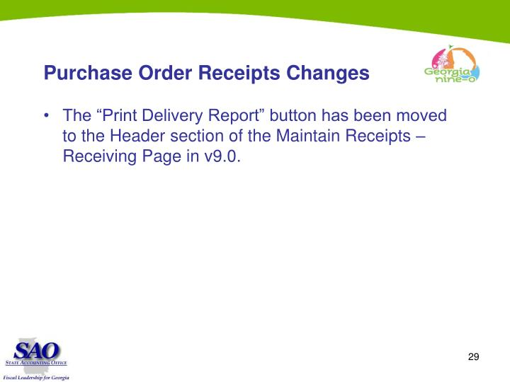 Purchase Order Receipts Changes