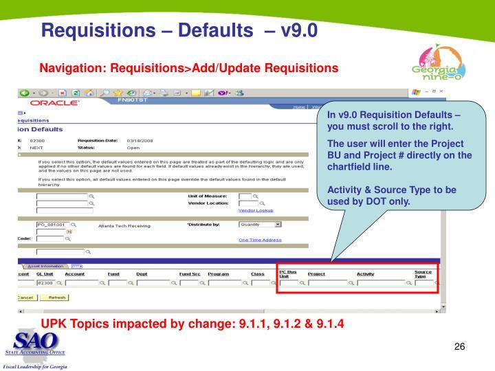 Requisitions – Defaults  – v9.0