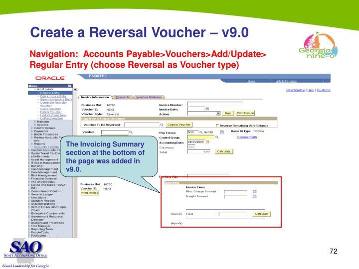 Create a Reversal Voucher – v9.0