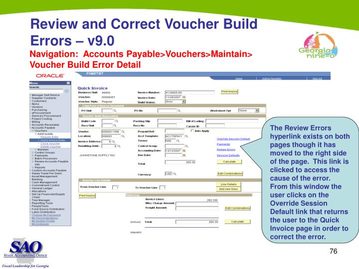 Review and Correct Voucher Build Errors – v9.0