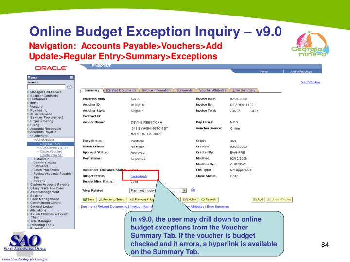 Online Budget Exception Inquiry – v9.0