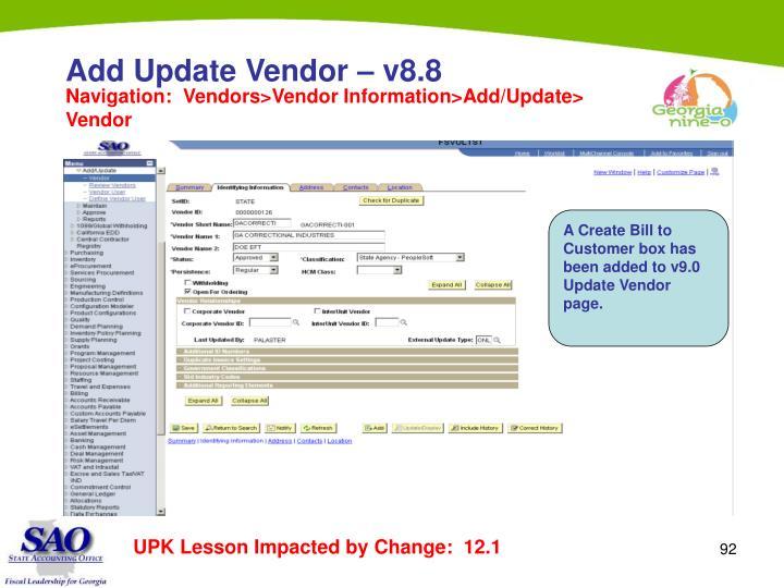 Add Update Vendor – v8.8