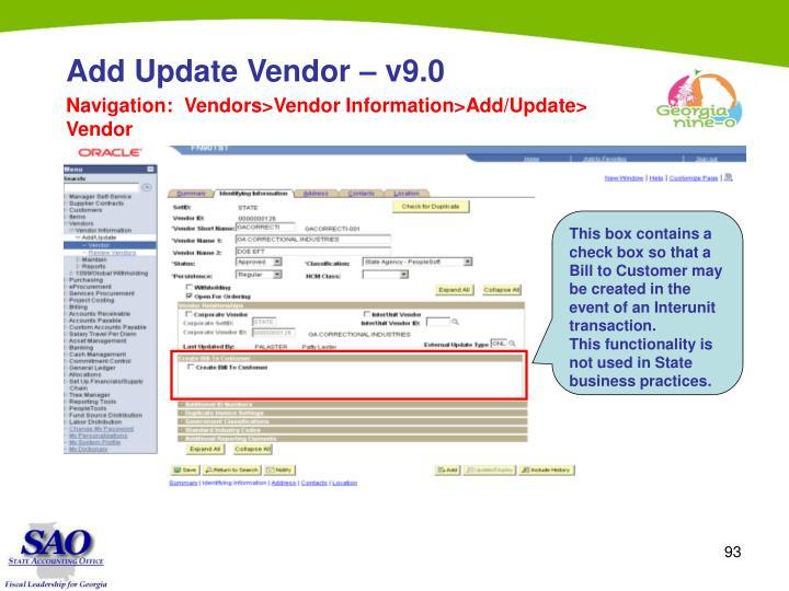 Add Update Vendor – v9.0