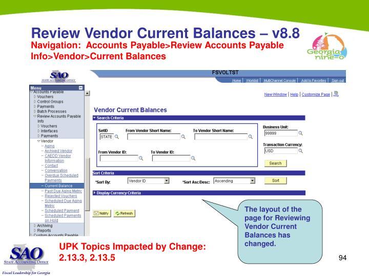 Review Vendor Current Balances – v8.8