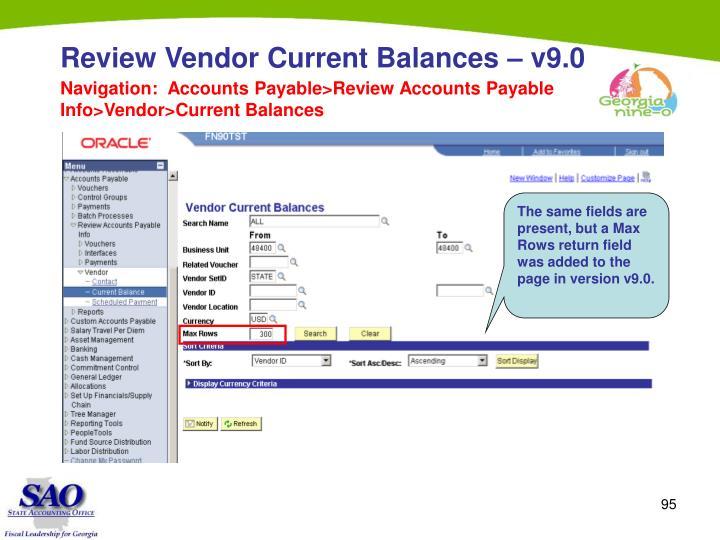 Review Vendor Current Balances – v9.0