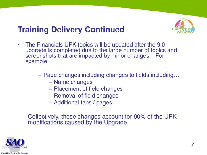 Training Delivery Continued