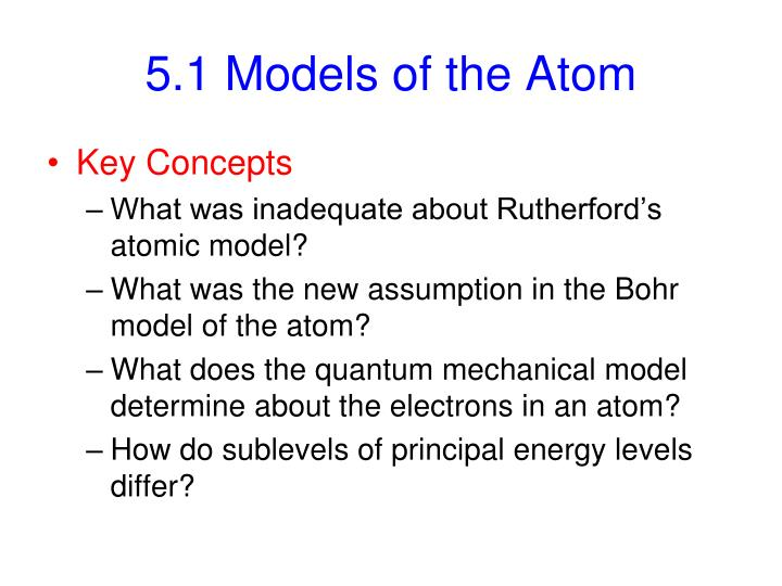 5 1 models of the atom