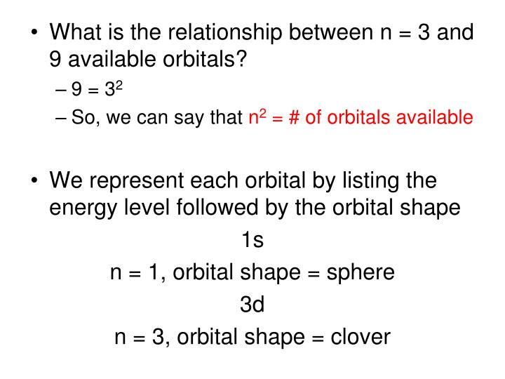 What is the relationship between n = 3 and 9 available orbitals?