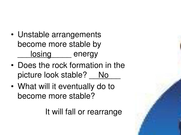 Unstable arrangements become more stable by ____________ energy