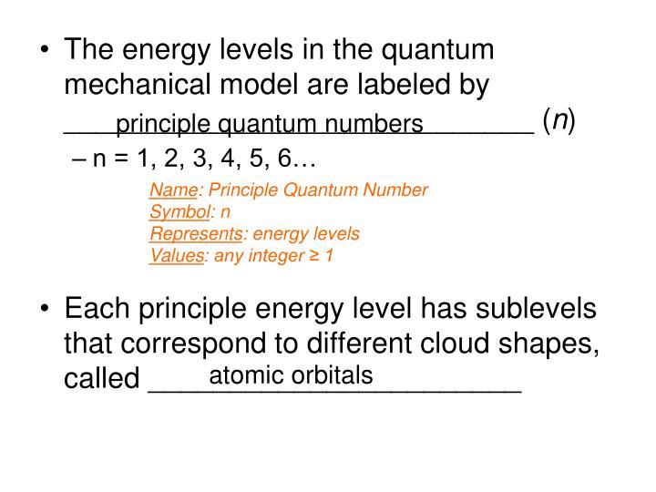 principle quantum numbers