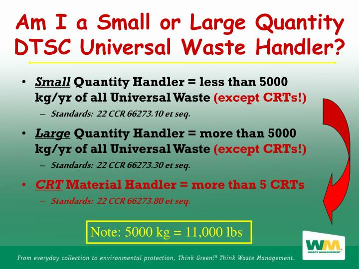Am I a Small or Large Quantity DTSC Universal Waste Handler?