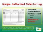 sample authorized collector log