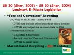 sb 20 sher 2003 sb 50 sher 2004 landmark e waste legislation
