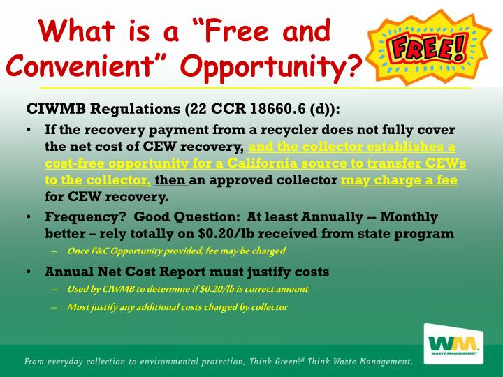 "What is a ""Free and Convenient"" Opportunity?"