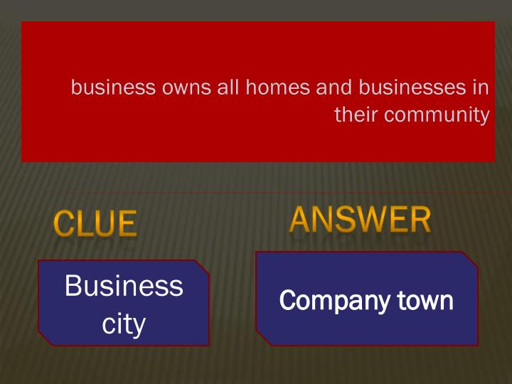 business owns all homes and businesses in their community