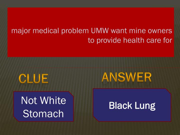 major medical problem UMW want mine owners to provide health care for