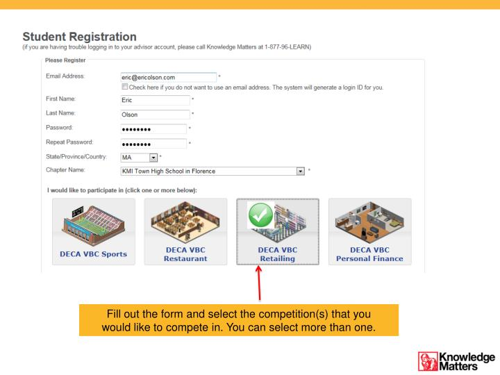 Fill out the form and select the competition(s) that you would like to compete in. You can select more than one.