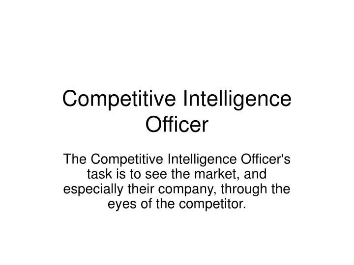 Competitive Intelligence Officer