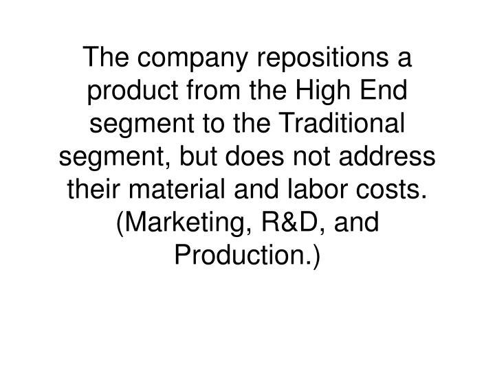 The company repositions a product from the High End segment to the Traditional segment, but does not address their material and labor costs. (Marketing, R&D, and Production.)