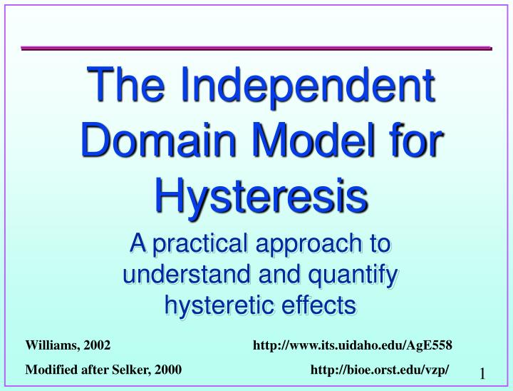 The independent domain model for hysteresis