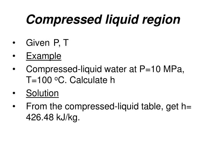 Compressed liquid region