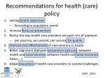 recommendations for health care policy1