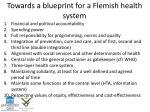 towards a blueprint for a flemish health system