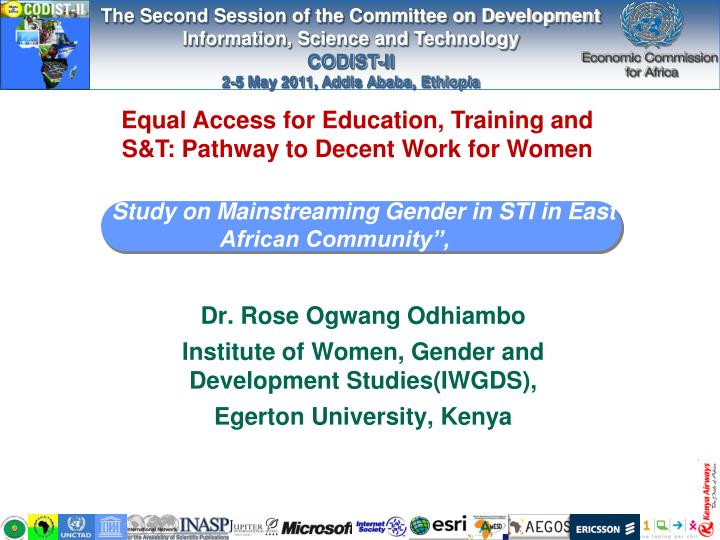 study on mainstreaming gender in sti in east african community n.