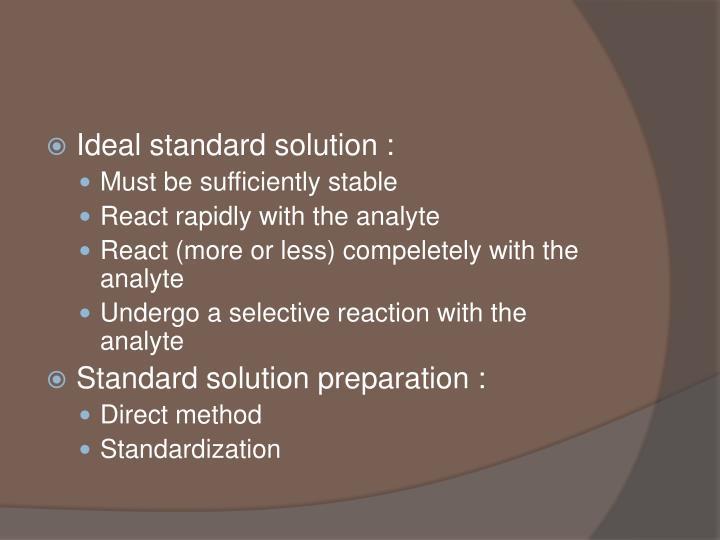 Ideal standard solution :