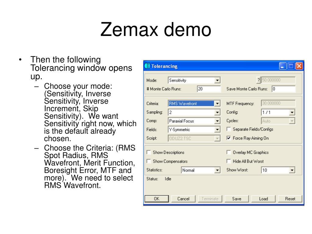 PPT - Tolerancing in Zemax PowerPoint Presentation - ID:6775752