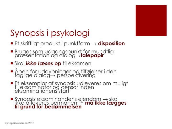 Synopsis i psykologi