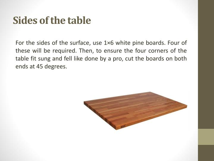Sides of the table
