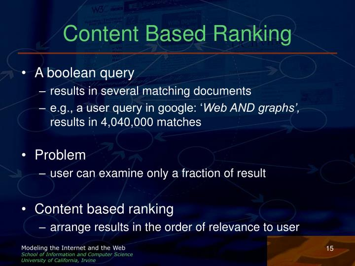 Content Based Ranking