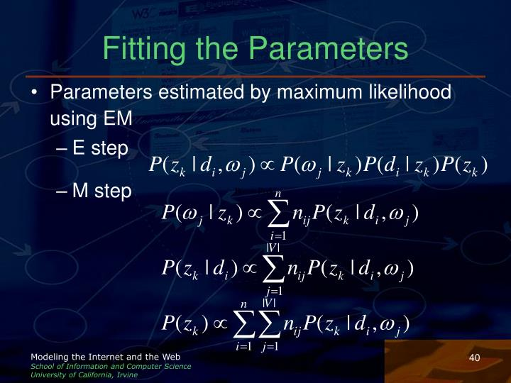 Fitting the Parameters