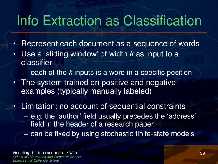 Info Extraction as Classification