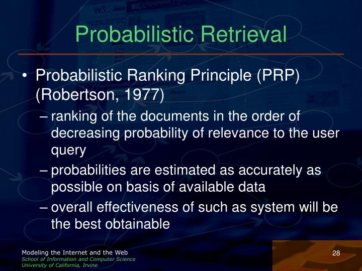 Probabilistic Retrieval