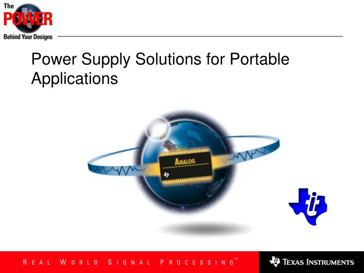 power supply solutions for portable applications n.