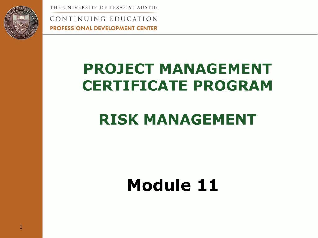 Ppt Project Management Certificate Program Risk Management