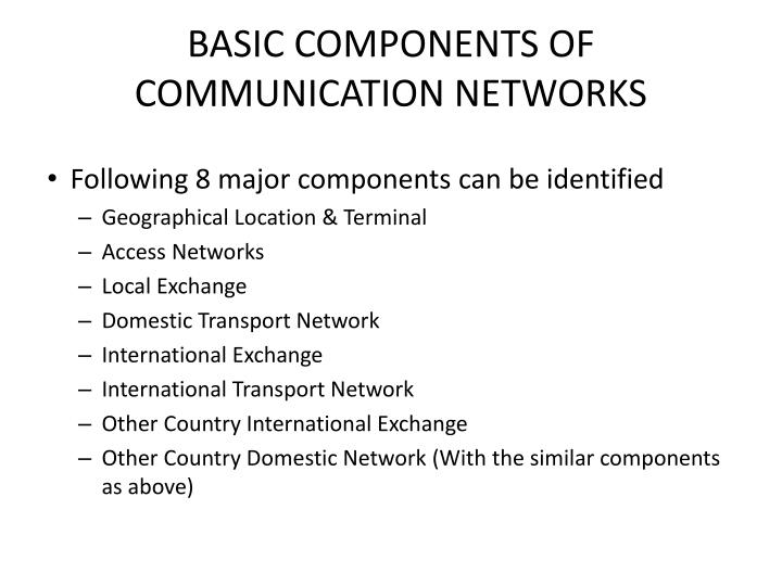BASIC COMPONENTS OF COMMUNICATION NETWORKS