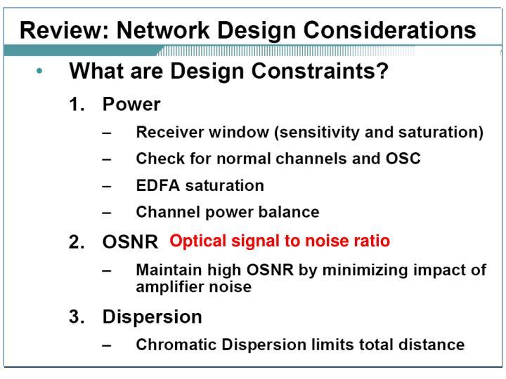 Optical signal to noise ratio
