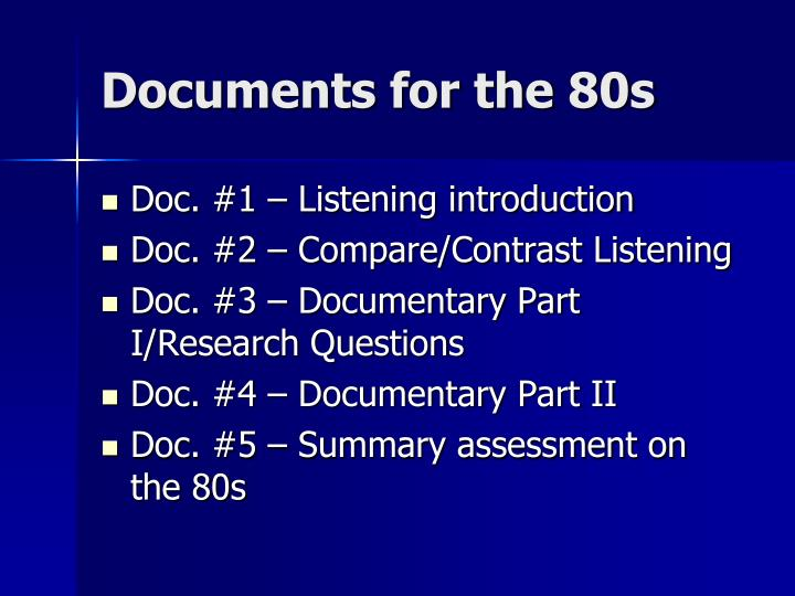 Documents for the 80s