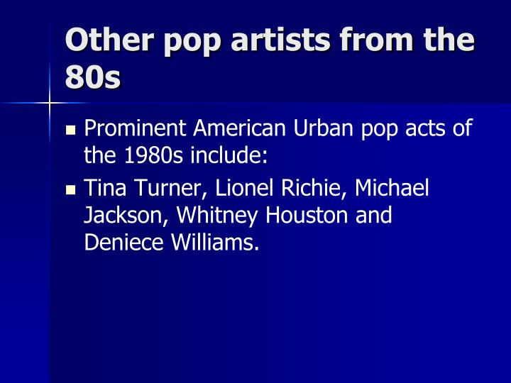 Other pop artists from the 80s