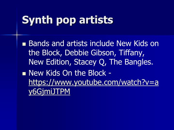 Synth pop artists
