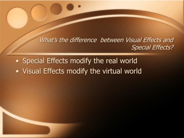 What's the difference  between Visual Effects and Special Effects?